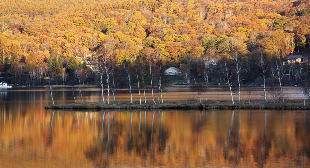 白樺湖の鏡張り